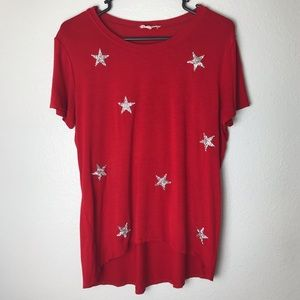 Tops - Urban Diction Red Star Sequin Tee